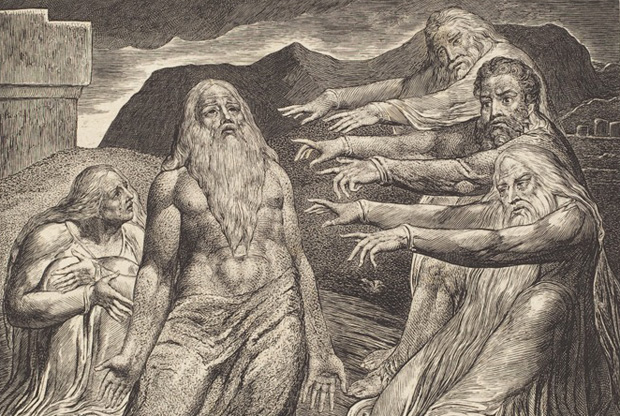 An engraving by William Blake, showing Job's friends pointing accusingly at him