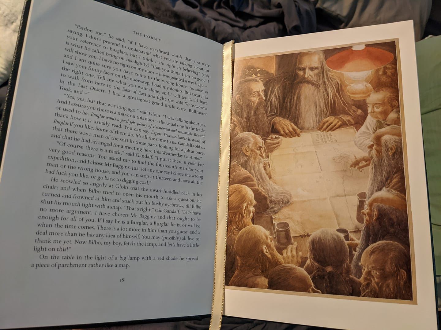 A photo of pages from The Hobbit